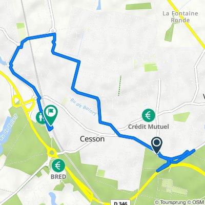 Rue de Melun, Vert-Saint-Denis to Passerelle Piétons, Cesson