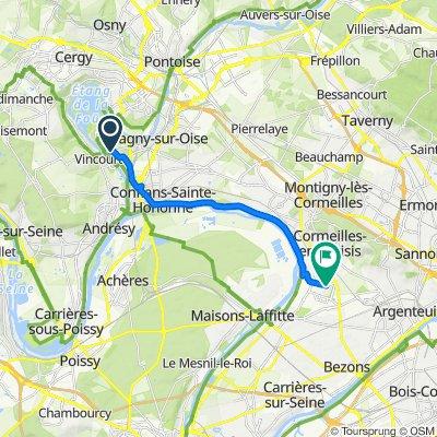 De 8 Allée du Saut du Loup, Neuville-sur-Oise à 14–18 Place des Arts, Cormeilles-en-Parisis