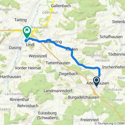 Hauptstraße 13, Adelzhausen nach Messerschmittstraße 8, Dasing