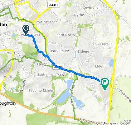36 Walcot Road, Swindon to Downs Way, Swindon