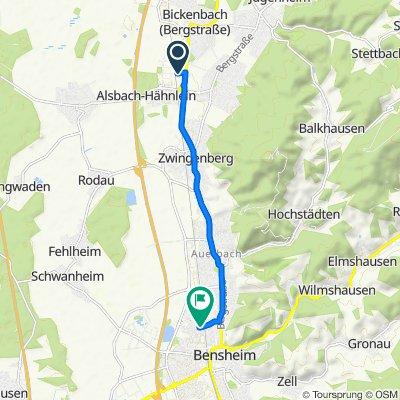 In der Pfarrtanne 10, Alsbach-Hähnlein nach Europa-Allee 1, Bensheim