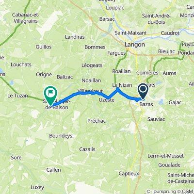De Chemin de Bourgade 1, Bazas à Avenue Jean Jaurès 8, Saint-Symphorien