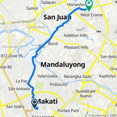 Aguirre 115, Makati to 3rd West Crame 21, San Juan