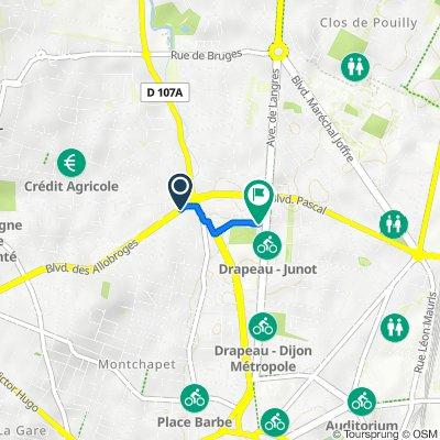 De Boulevard des Allobroges, Fontaine-lès-Dijon à 1 Rue Curtat, Dijon