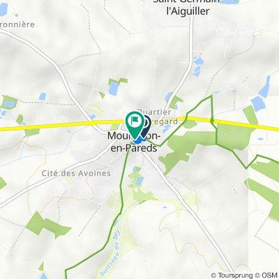 De 1 Rue de la Fontaine, Mouilleron-en-Pareds à 1 Place du Maréchal de Lattre de Tassigny, Mouilleron-en-Pareds
