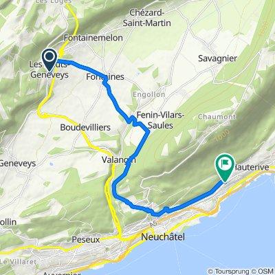 De Chemin du Bugnon 2, Les Hauts-Geneveys à Chemin du Crêt du Chêne 1–3, Neuchâtel