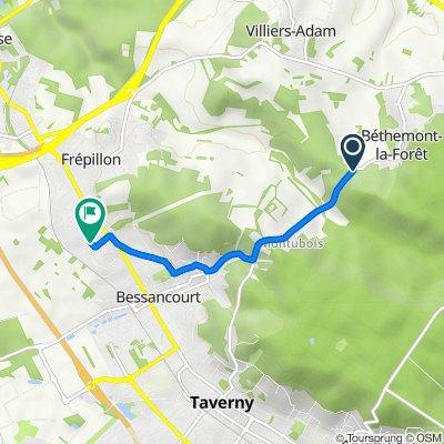 De Route Départementale, Béthemont-la-Forêt à 10 Avenue Jean-Baptiste Garnier, Bessancourt
