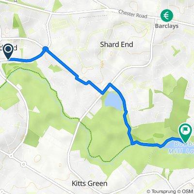 142 Brook Meadow Road, Birmingham to 364–396 Fordbridge Road, Kingshurst, Birmingham