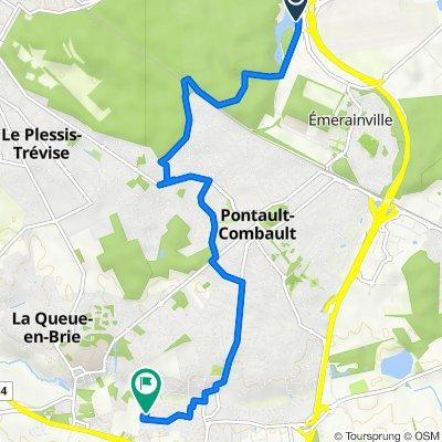 De Boulevard du Clos de l'Aumône, Émerainville à Rue des Bergeronnettes 20, Pontault-Combault