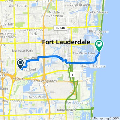 Southwest 22nd Street 3625, Fort Lauderdale to Seabreeze Boulevard 888, Fort Lauderdale