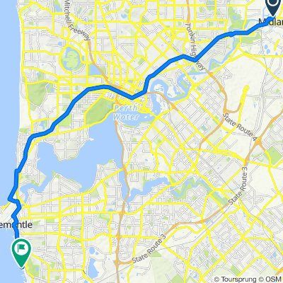 Route from Midland - Fremantle