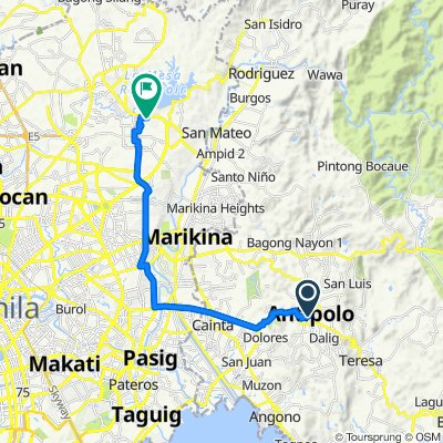 J. Sumulong Street 52c, Antipolo to Peacock Street 345, Quezon City