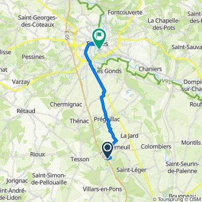 De 32 Chez Blaudière, Berneuil à 24 Chemin de la Prairie, Saintes