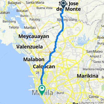 29 Sarmiento Drive, San Jose del Monte City to Maria Orosa Street, Manila