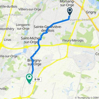 De 45 Cité du Marché, Morsang-sur-Orge à Rue des Manufactures, Brétigny-sur-Orge