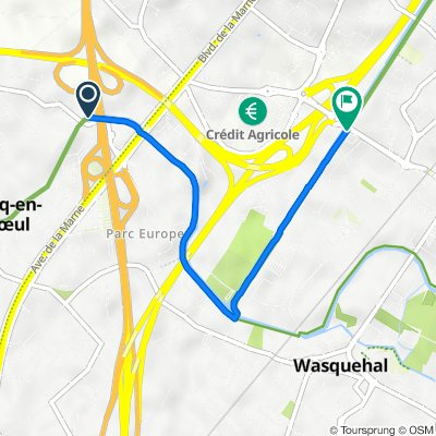 De Chemin de Halage, Marcq-en-Baroeul à 3–4 Chemin du Halage, Wasquehal