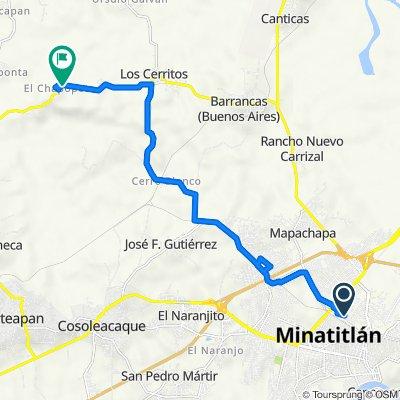De Calle Adalberto Tejeda 1, Minatitlán a Carretera Coatzacoalcos - Canticas - Mapachapa, Chinameca