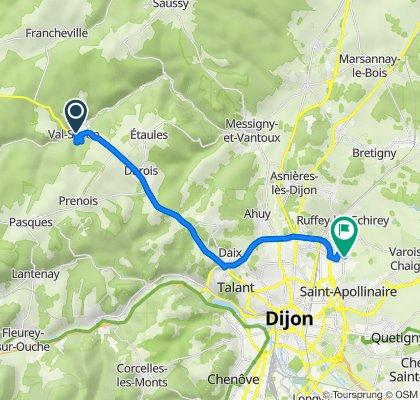 De 1 Rue de la Vieille Route, Val-Suzon à Rue du Bailly, Dijon