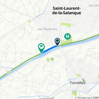De 6 Place Jacquard, Saint-Laurent-de-la-Salanque à Rue de Torreilles, Claira