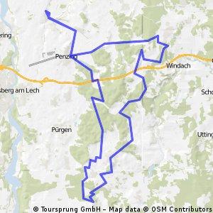 MTB-Runde Epfenhausen-Thaining-Epfenhausen