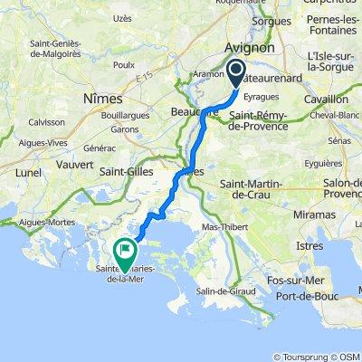 De 2 Route d'Avignon, Graveson à 9 Avenue Léon Gambetta, Saintes-Maries-de-la-Mer