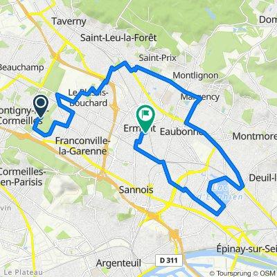 De Chemin des Monts Rouges, Franconville à 4 Rue de la Réunion, Ermont