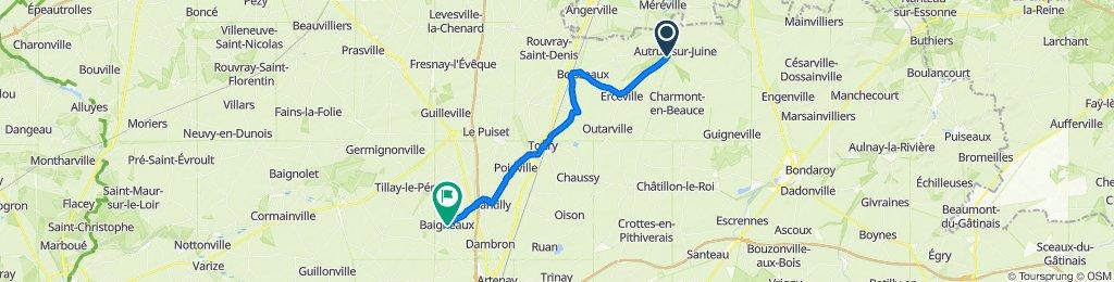 De Route de Fromonvilliers, Autruy-sur-Juine à Gr Grande Rue 35, Baigneaux