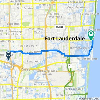 5171 SW 19th St, Plantation to 2901 E Las Olas Blvd, Fort Lauderdale