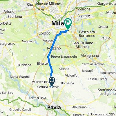 Da Via del Monumento 3, Certosa di Pavia a Via Giovanni Scheiwiller 6, Milano