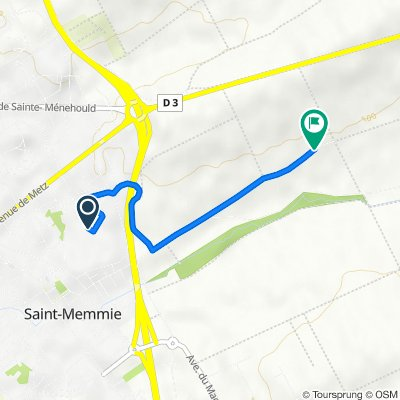 De Allée Arthur Rimbaud 3, Saint-Memmie à Chemin des Meuniers, Saint-Memmie