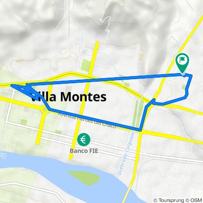 De Avenida Las Moras, Villa Montes a Avenida Las Moras, Villa Montes