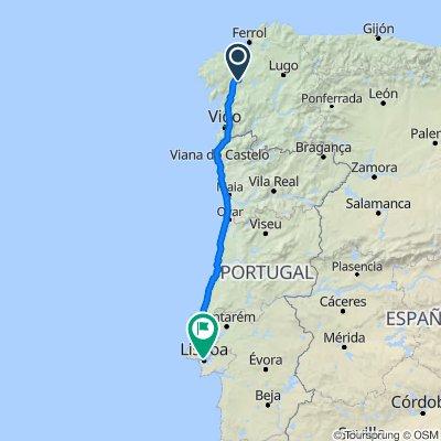 De Lugar do Aeroporto de Lavacolla-Chegadas, Santiago de Compostela à Rua do Comércio 172–202, Lisbonne