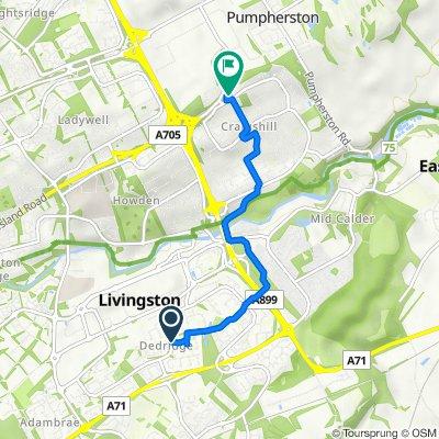 151, Nigel Rise, Livingston to Fire Station, Craigshill Road, Livingston