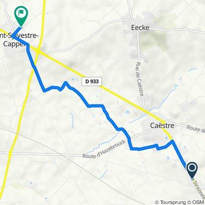 De 1468 Route de Strazeele, Caëstre à 294 Route de La Chapelle, Saint-Sylvestre-Cappel