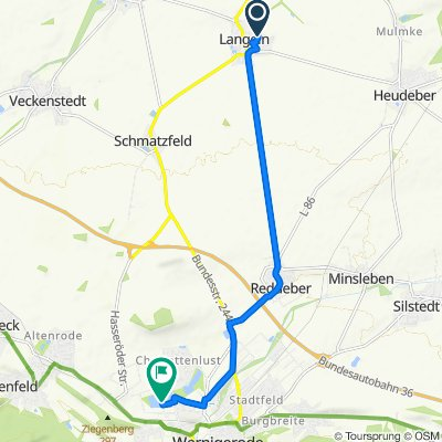 Grasgartenstraße 13, Langeln nach Am Köhlerteich 9, Wernigerode