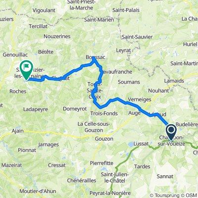 De Place Delamare 7, Chambon-sur-Voueize à Rue du Berry 21, Châtelus-Malvaleix