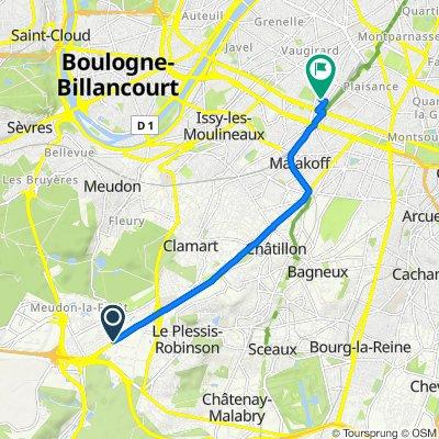 De 2 Route du Pavé Blanc, Clamart à 15 Rue du Lieuvin, Paris