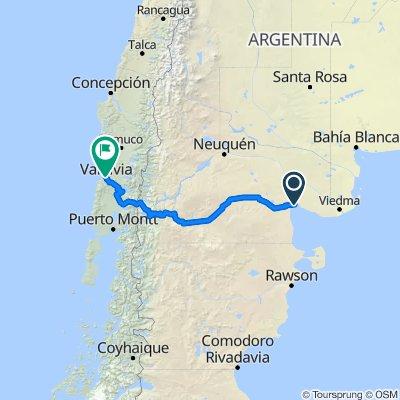 San Antonio Oeste to Valdivia with stops