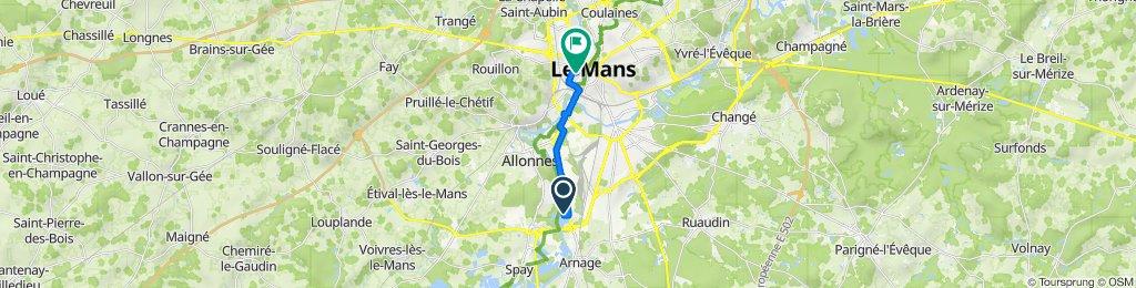 De 10 Rue Ernest-Sylvain Bollée, Arnage à 23 Rue du Puits de la Chaîne, Le Mans