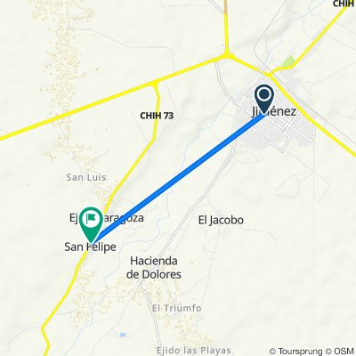 De Calle Aquiles Serdán 1607, José Mariano Jiménez a Carretera E.C. Km. 71.7, San Felipe