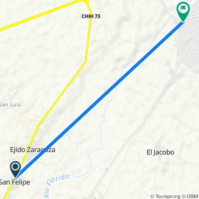 De Carretera E.C. Km. 71.7, San Felipe a Calle 5 de Mayo 202, José Mariano Jiménez