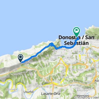 De Paseo del Padre Orkolaga, 120, Donostia/San Sebastián a Paseo de Salamanca, 13, Donostia/San Sebastián