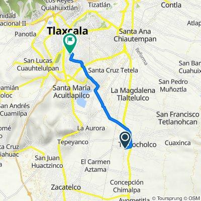 De Calle Benito Juárez, Teolocholco a Calle Jaime Nuno 9, Tlaxcala de Xicohténcatl
