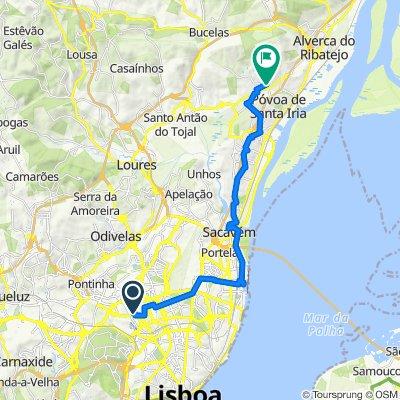 Rua Abranches Ferrão 21B, Lisbon to Rua Combatentes da Grande Guerra 2–18, Vialonga