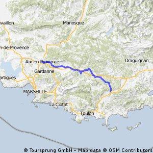 Von Aix-en Provence nach Carnoules