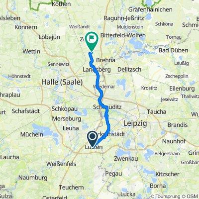 Friedrich-Engels-Straße 4, Lützen nach Geschwister-Scholl-Straße 51, Zörbig
