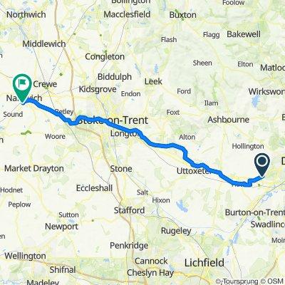 Route from John Port School, Main St, Derby