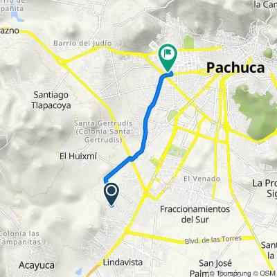Ruta a Calle Arrayán 128, Pachuca de Soto