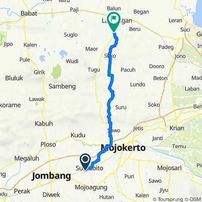 Jalan Kapten Suprapto, Kecamatan Sumobito to Sanur, Kecamatan Tikung