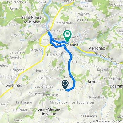 De 7 Le Breuil, Saint-Martin-le-Vieux à Promenade des Grèves, Aixe-sur-Vienne